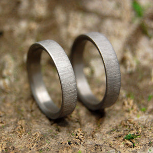 SLIM SLEEK VERTICAL STROKE | Titanium Wedding Rings Set - Minter and Richter Designs