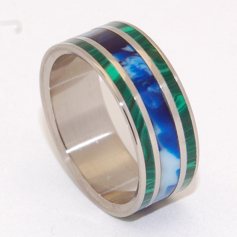 WE ARE OUR WORLD | Jade Stone & Blue Vintage Resin - Titanium Wedding Rings - Minter and Richter Designs