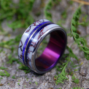 IN THE WILDS | Stone & Titanium Purple Wedding Rings - Minter and Richter Designs