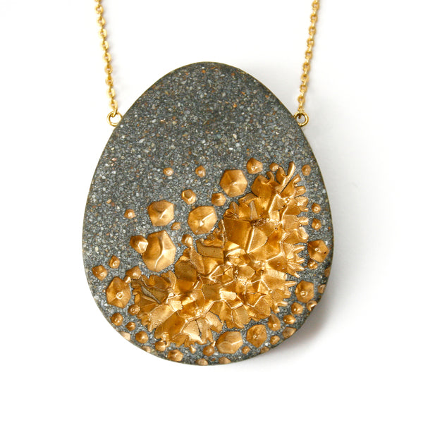 Wiluna Teardrop Pendant - Bridal Concrete and Gold - Minter and Richter Designs