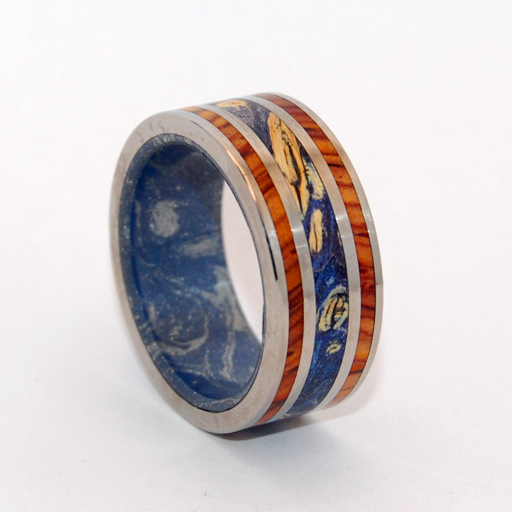 WORLD OF LOVE | Blue Box Elder Wood & Cocobolo Wood - Unique Wedding Rings - Minter and Richter Designs