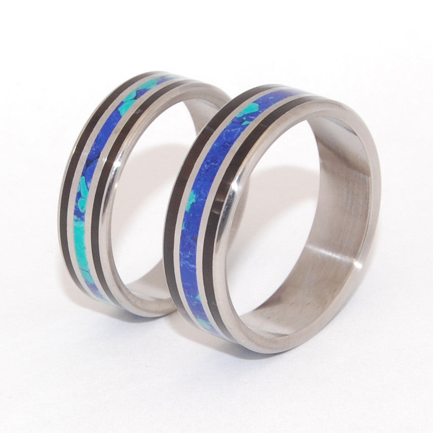 You Are My Most Rational Thought | His and Hers Stone and Horn - Titanium Wedding Ring Set - Minter and Richter Designs