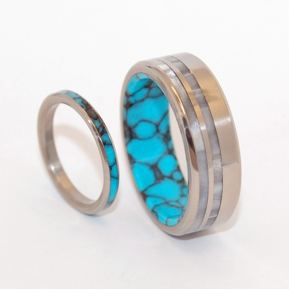 You and Me and Strong and Bright | Turquoise Wedding Ring Set