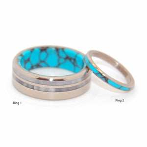 YOU ME STRONG BRIGHT | Turquoise Stone & Gray Pearl Marbled Opalescent - Turquoise Wedding Rings Set - Minter and Richter Designs