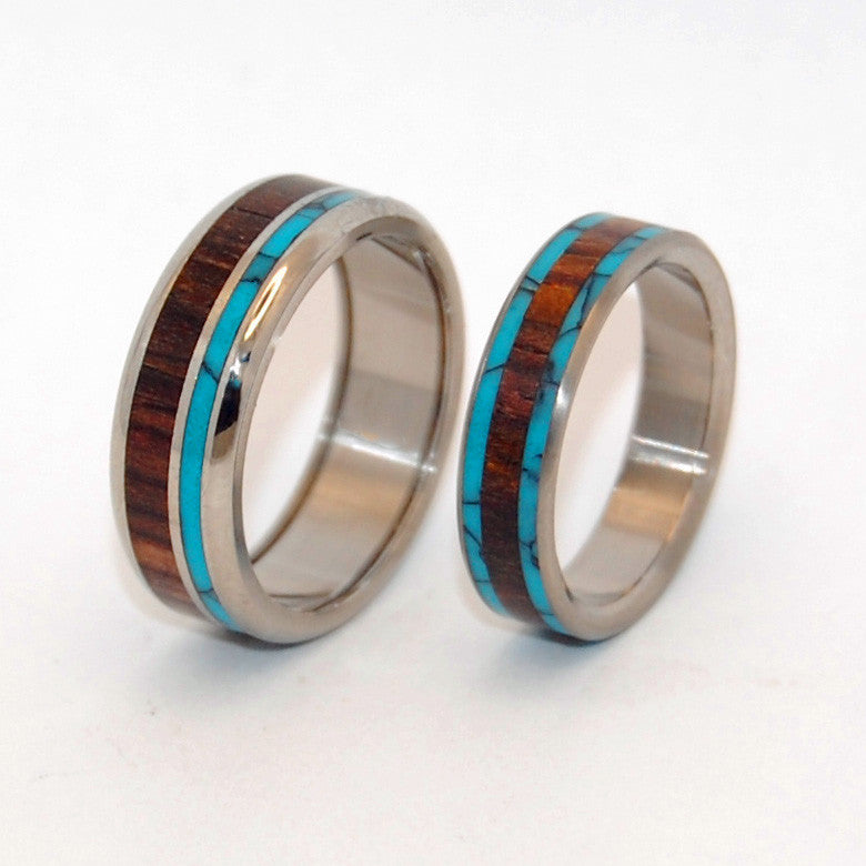 You Can See Me (Pop a Top) and Dock | Stone and Wood Titanium Wedding Ring Set