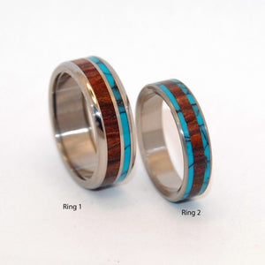 You Can See Me (Pop a Top) and Dock | Stone and Wood Titanium Wedding Ring Set - Minter and Richter Designs