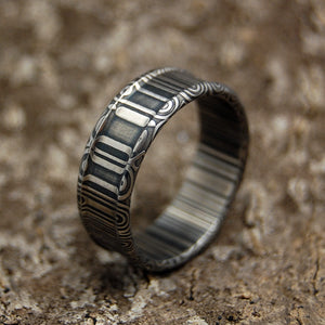 Men's Damasteel Wedding Rings - Handcrafted Men's Wedding Rings | A HERO WALKS ALONE