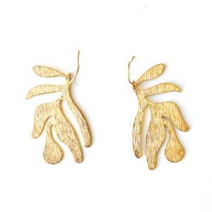ABSTRACT LEAF EARRINGS | Raw Brass Earrings - Minter and Richter Designs