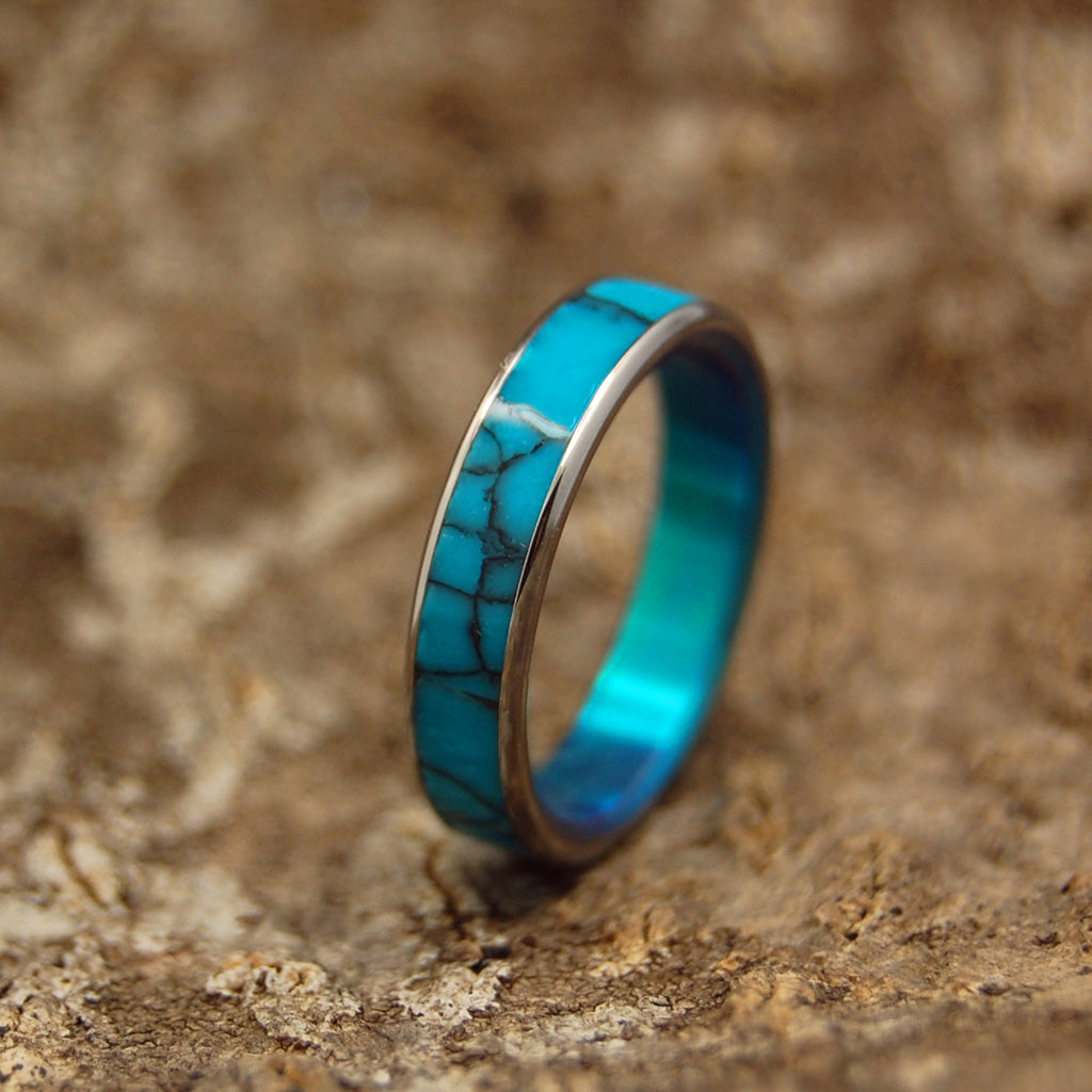 All I Want Is You and Turquoise with Edges | Turquoise Titanium Wedding Band