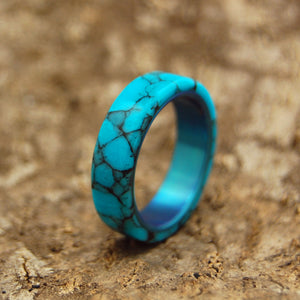 All I Want Is You and Turquoise | Turquoise Titanium Wedding Band - Minter and Richter Designs