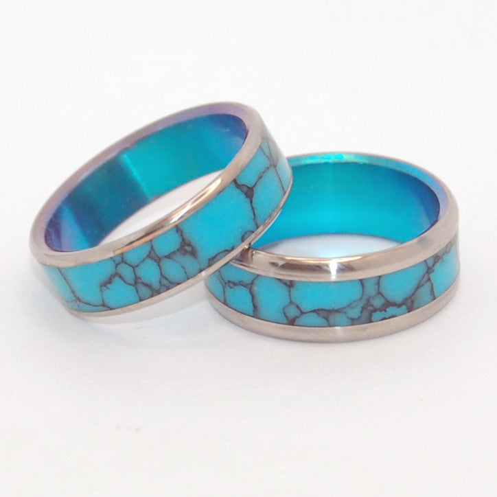 His and Hers Wedding Rings - Turquoise Wedding Rings | YOU AND ME AND TURQUOISE SEA