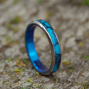 All I Want Is You and Turquoise with Edges | Turquoise Titanium Wedding Band - Minter and Richter Designs