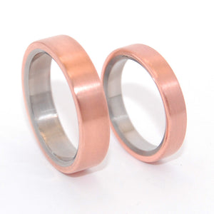 Allemande | Copper and Titanium Wedding Ring Set
