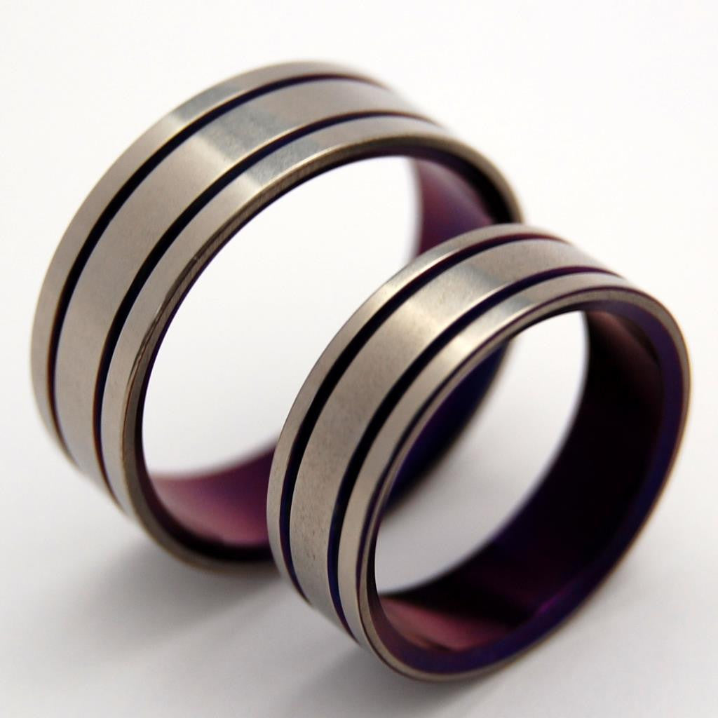 ALMA MATER | Purple Titanium Wedding Rings - Minter and Richter Designs