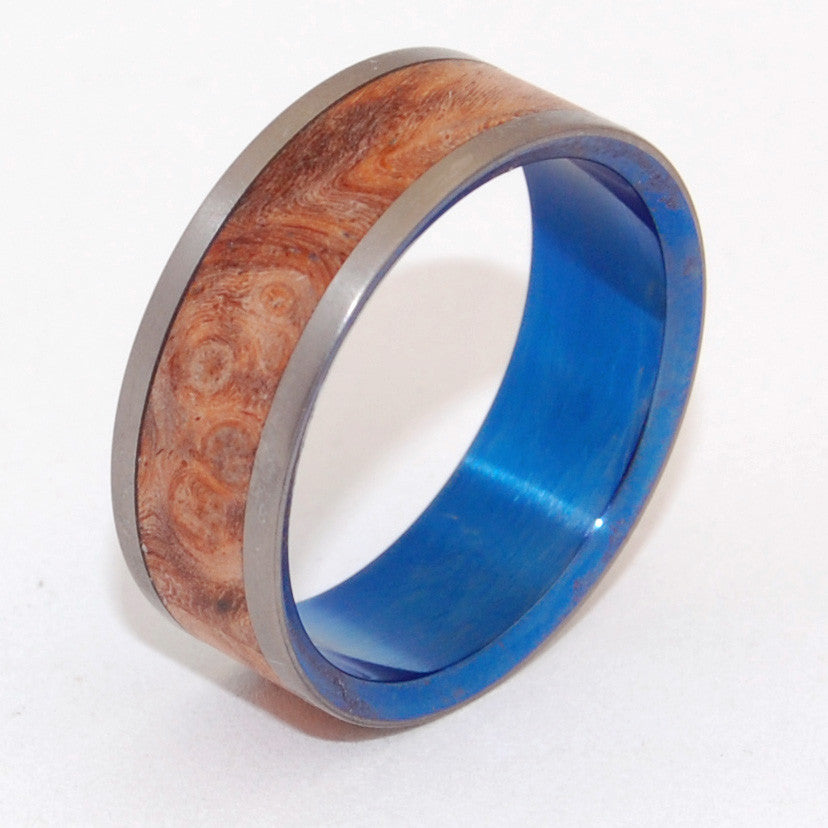 Wishing Well | Wood and Hand Anodized Titanium Wedding Ring - Minter and Richter Designs