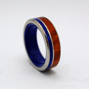 BY THE LAKE | Amboyna Burl Wood & Sodalite Stone Unique Titanium Wedding Rings - Minter and Richter Designs