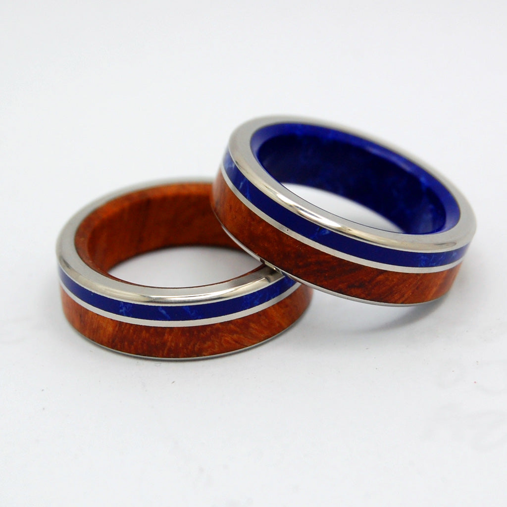 TWILIGHT BY LAKE | Amboyna Burl Wood & Sodalite Stone - Unique Wedding Rings set - Minter and Richter Designs