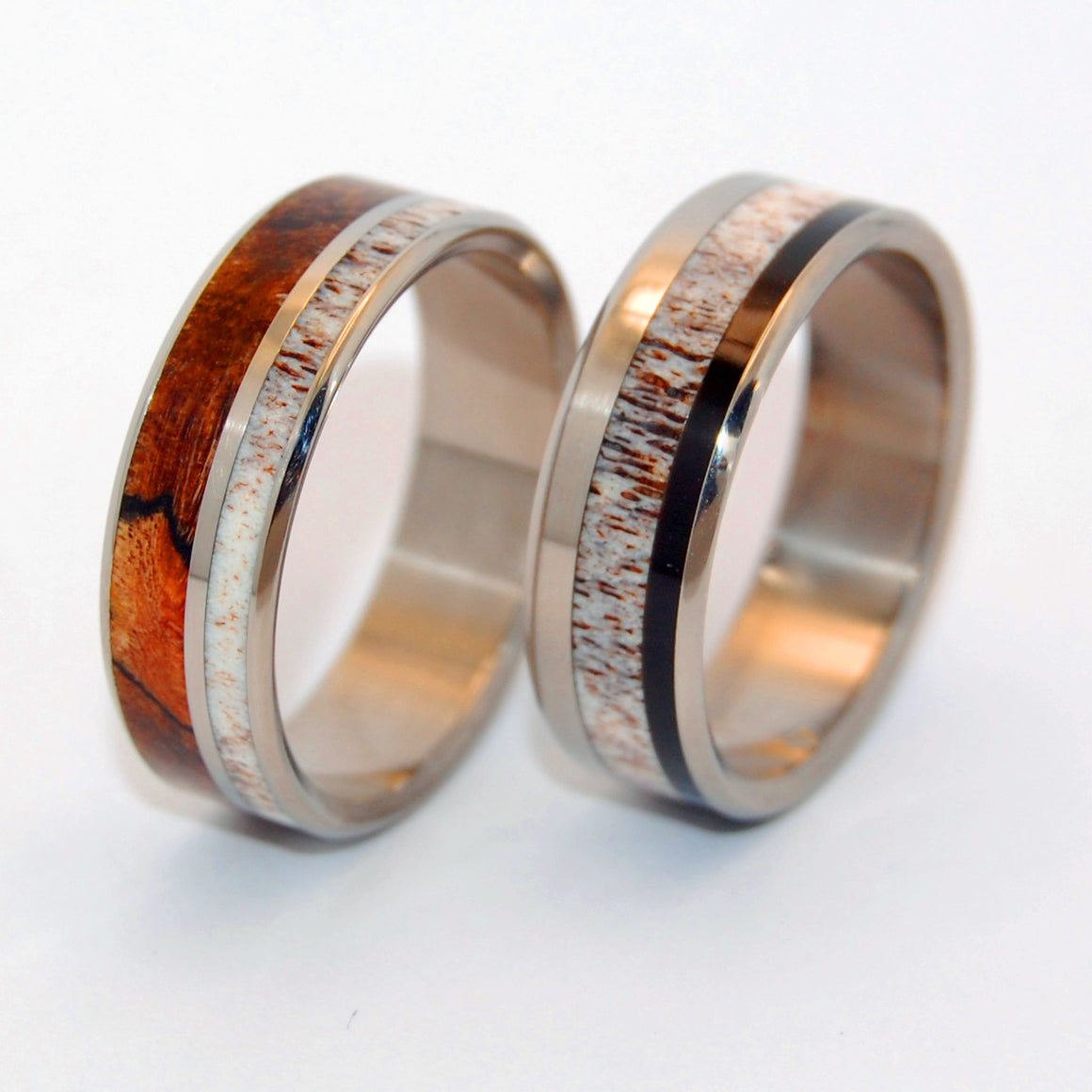 American Man and His Partner | Horn and Titanium Wedding Rings