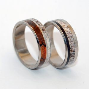 AMERICAN MAN & HIS PARTNER | Horn & Titanium Wedding Rings - Minter and Richter Designs