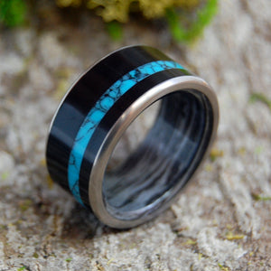 Mens Wedding Ring - Onyx and Turquoise Titanium Wedding Band | APOLLO