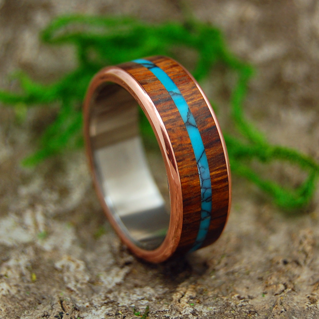 ARIZONA DESERT | Desert Ironwood & Turquoise Copper Titanium Wedding Rings - Minter and Richter Designs