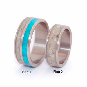 ARMENIAN QUARTER OF JERUSALEM | Jerusalem Cobblestone & Titanium Wedding Rings set - Minter and Richter Designs