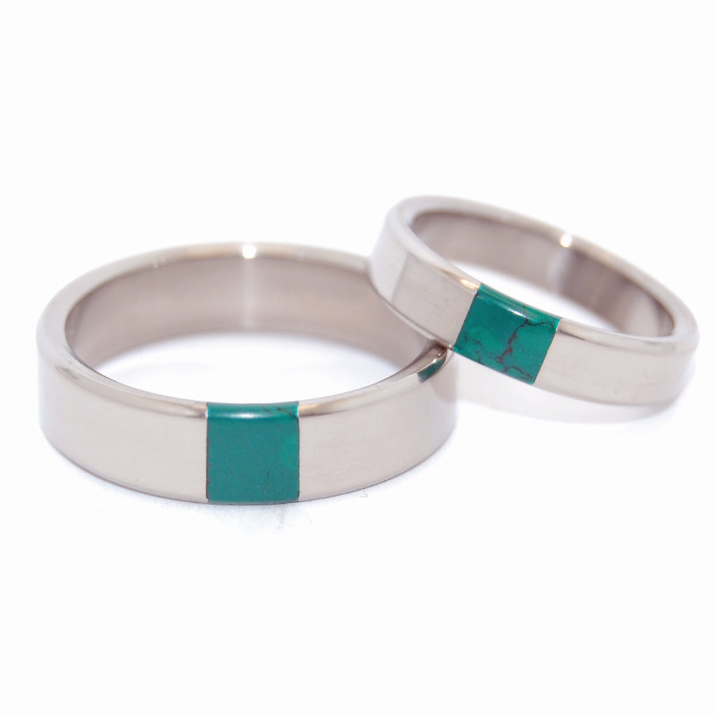 ARRANT JADE | Titanium & Jade Stone Wedding Rings - Unique Wedding Rings Set - Minter and Richter Designs