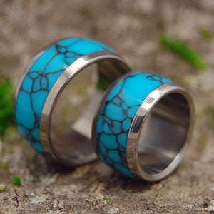 His and Hers Wedding Rings - Turquoise Wedding Rings | ATLANTIS WEDDING RING SET