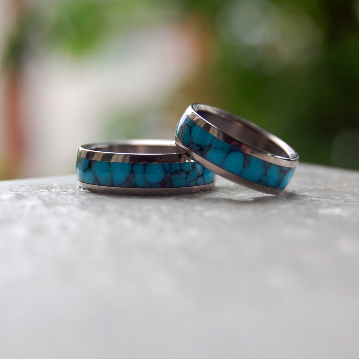 ATLANTIS | Turquoise Stone & Titanium - Unique Wedding Rings - Wedding Rings Set - Minter and Richter Designs