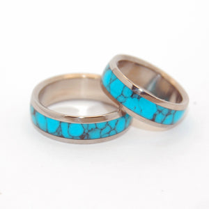 Atlantis | Turquoise Titanium Wedding Ring Set
