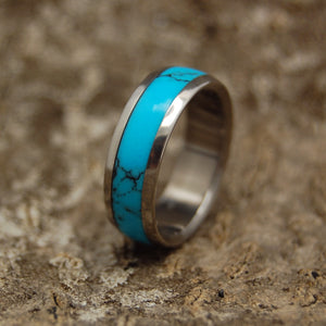 Wedding Ring - Turquoise Wedding Band | LIGHTLY VEINED TURQUOISE DOME
