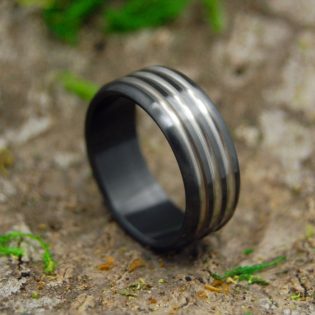 ATOMIC GROOVE | Zirconium Black Wedding Rings - Minter and Richter Designs