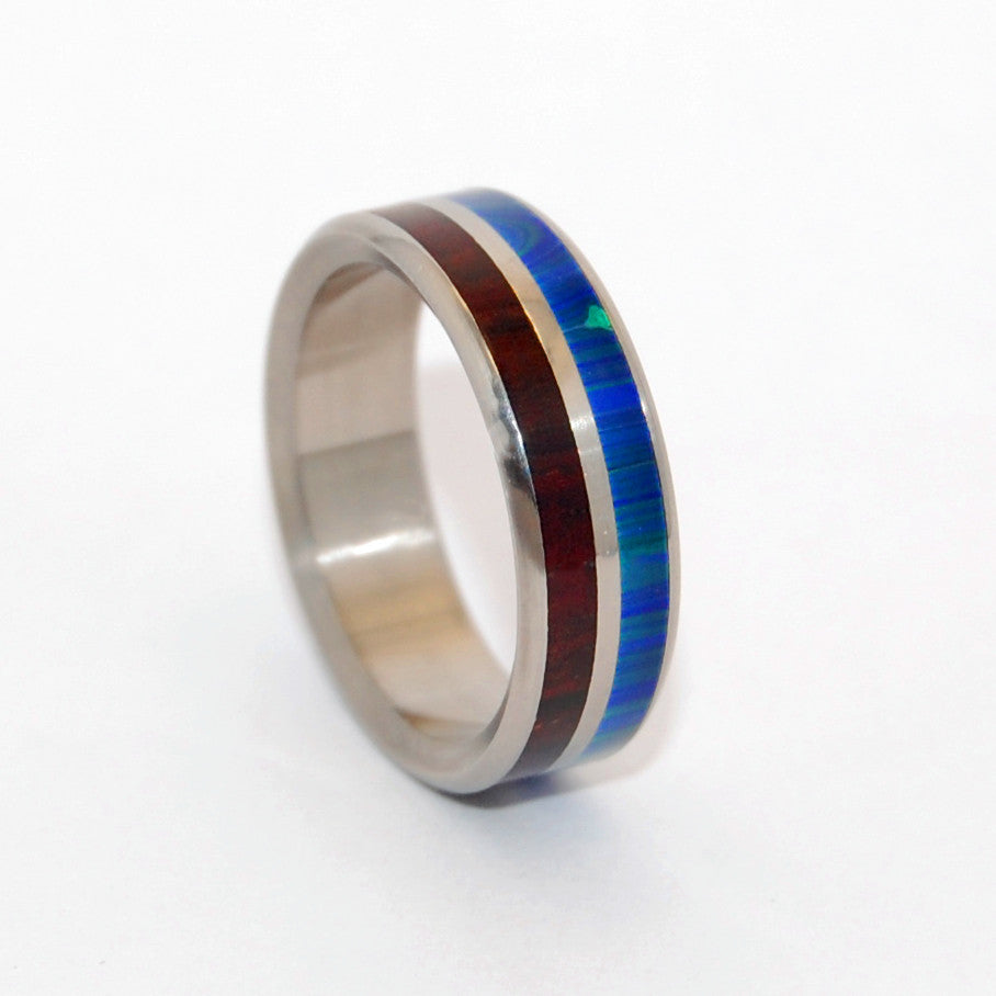 JUNGLE | Azurite Stone & Wood Titanium Wedding Rings - Minter and Richter Designs