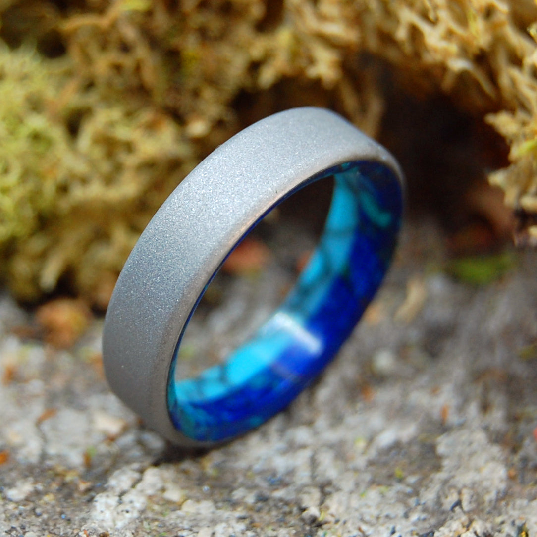 MEET ME HALF WAY | Turquoise and Titanium Wedding Band - Minter and Richter Designs
