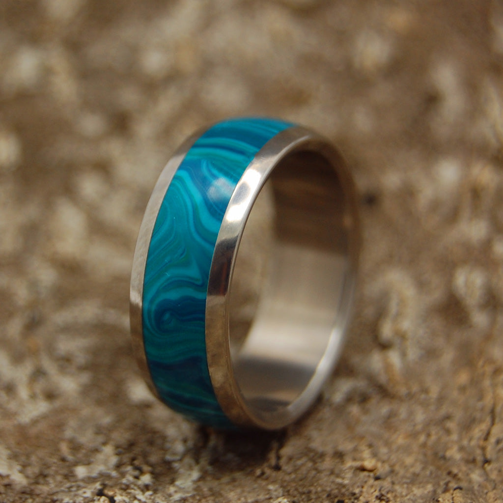 Banded Domed Chrysocolla Wedding | Wooden Titanium Wedding Ring