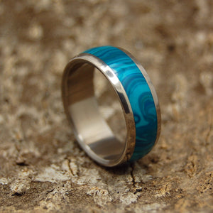 DOMED CHRYSOCOLLA | Stone Titanium Wedding Rings - Minter and Richter Designs