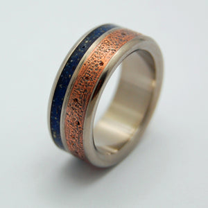 BATTLE CRY BLUE | Copper & Blue Beach Sand Concrete Unique Wedding Rings - Minter and Richter Designs