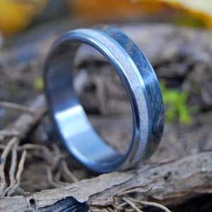 BLUE WOOD & SAND | Beach Sand Rings - Wooden Wedding Ring - Unique Wedding Rings - Minter and Richter Designs