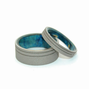 BELIEVE IN YOU | Sandblasted Blue Box Elder Wood & Titanium Wedding Rings set - Minter and Richter Designs