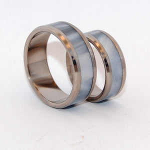 BEVELED ASTAIRE | Gray Pearl Marbled Opalescent Resin & Titanium Custom Wedding Rings Set - Minter and Richter Designs