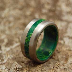 Men's Titanium Wedding Ring - Handcrafted Jade Wedding Rings | BIRD OF PARADISE SATIN
