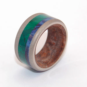 YOSHINO RIVER | Jade Stone, Blue Box Elder Wood & Titanium - Wooden Wedding Rings - Minter and Richter Designs
