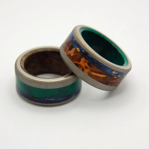 SHIKOKU ISLAND & YOSHINO RIVER | Jade Stone, Blue Box Elder Wood & Titanium - Wooden Wedding Rings - Minter and Richter Designs