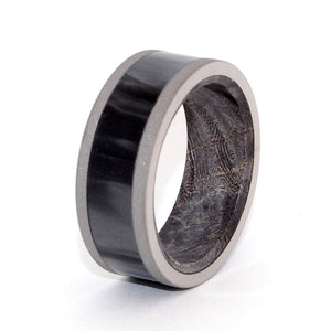 MIDNIGHT IS OURS | Black Box Elder Wood & Resin Titanium Wedding Rings - Black Rings - Minter and Richter Designs