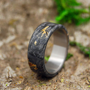Mens Wedding Ring - Titanium Wood Wedding Band | CALIFORNIA BUCKEYE OVERLAY