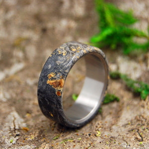 Mens Wedding Ring - Titanium Wood Wedding Band | CALIFORNIA BUCKEYE OVERLAY - Minter and Richter Designs