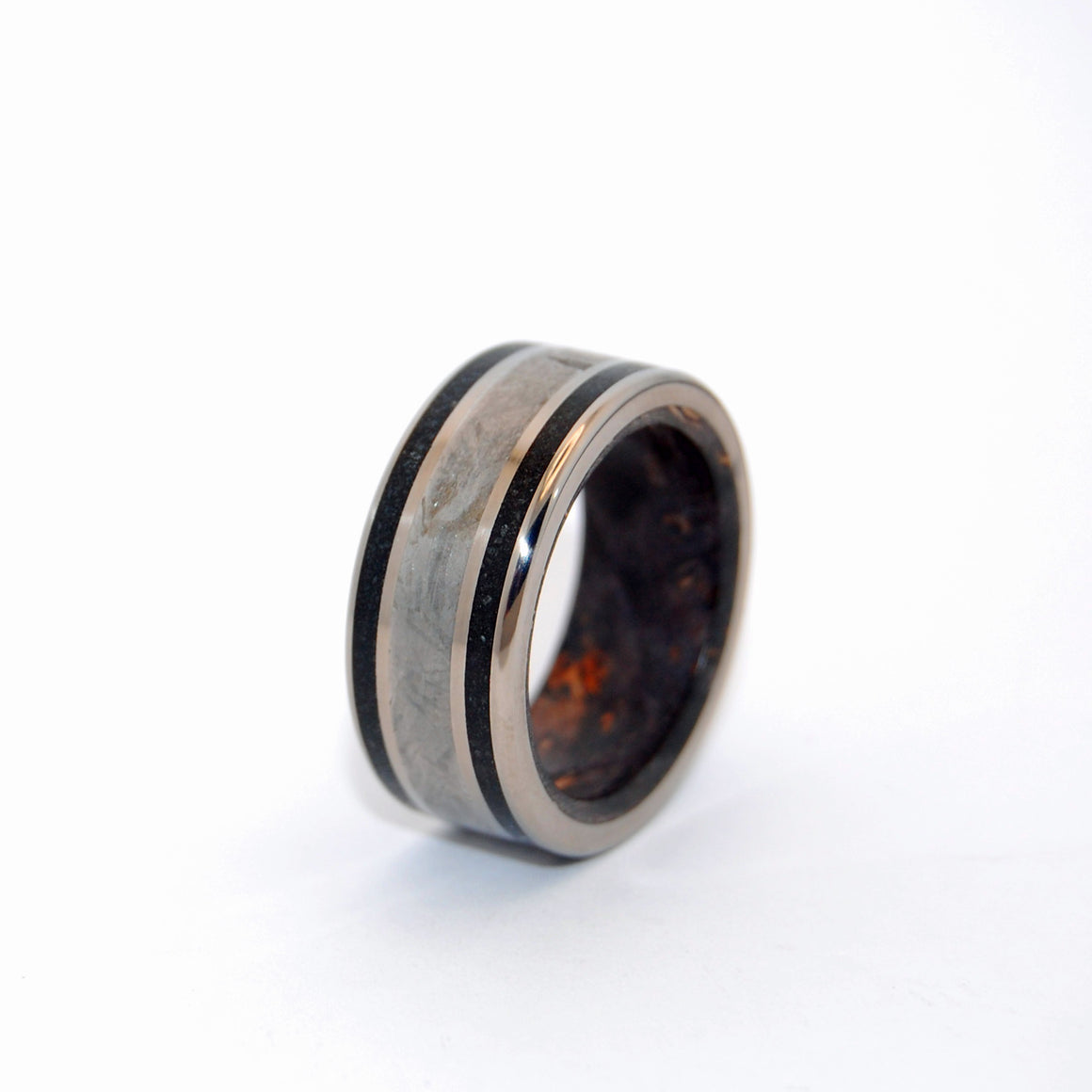 Men's Wedding Rings - Handcrafted Meteorite and Titanium Ring | THE RESOLUTE - Minter and Richter Designs
