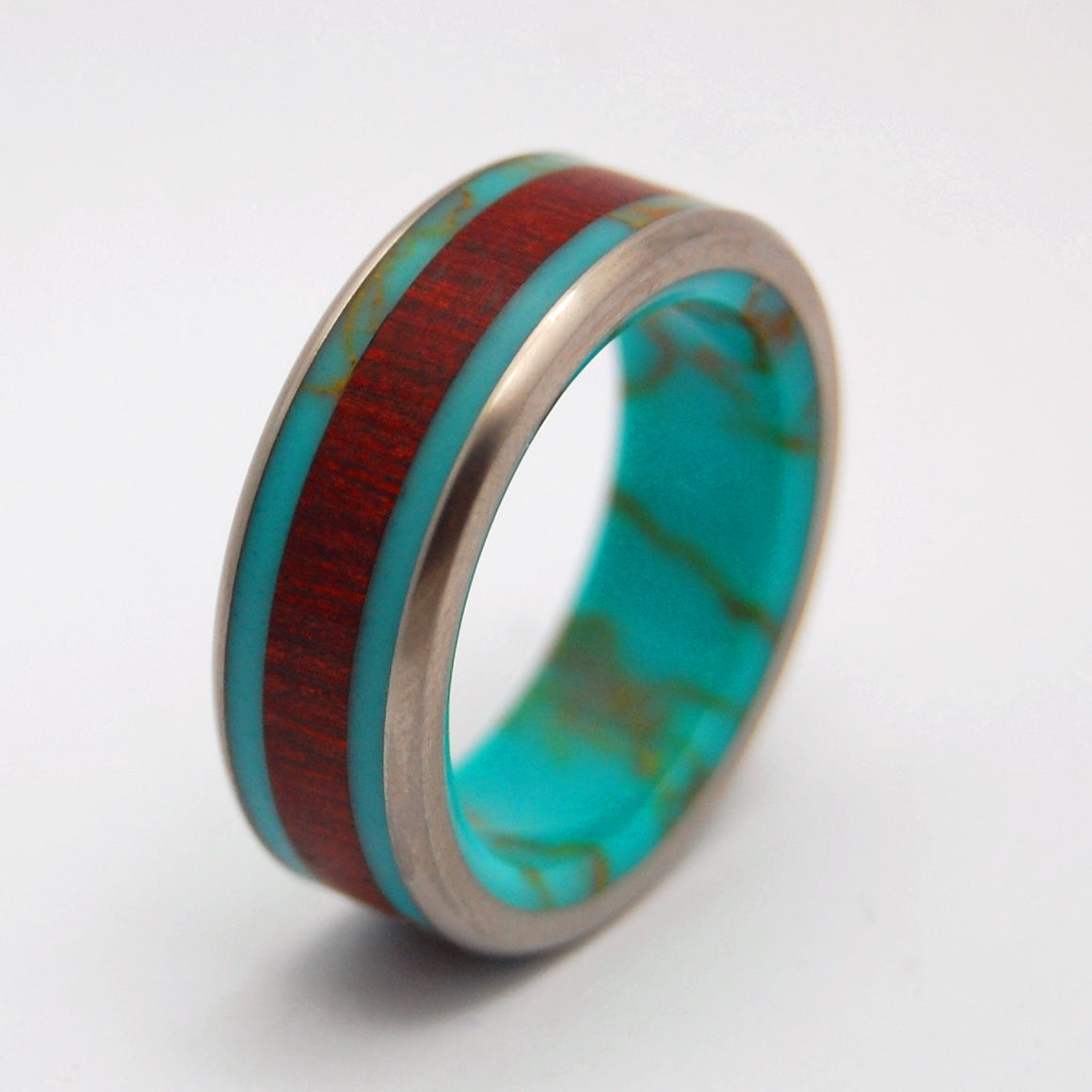 BLOOD & GOLD | Tibetan Turquoise & Blood Wood Unique Custom Wedding Rings - Minter and Richter Designs