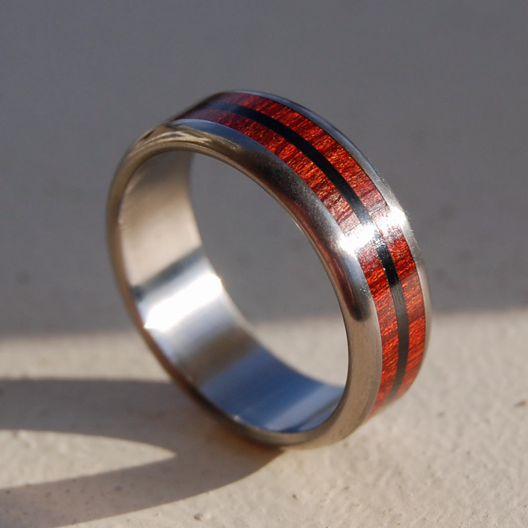 BLOOD & STONE | Onyx Stone & Blood Wood Titanium Men's Rings - Minter and Richter Designs