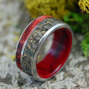 ALREADY DESTINED | Box Elder Wood & Jasper Stone Titanium Wedding Rings - Minter and Richter Designs